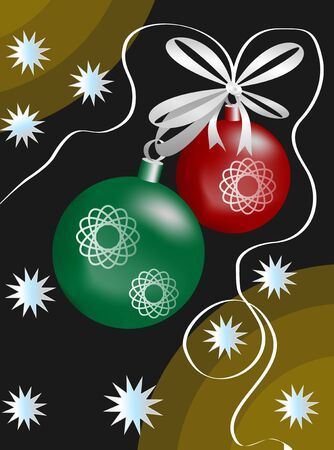 christmas motif: Abstract Christmas motif with balls, stars and ribbon