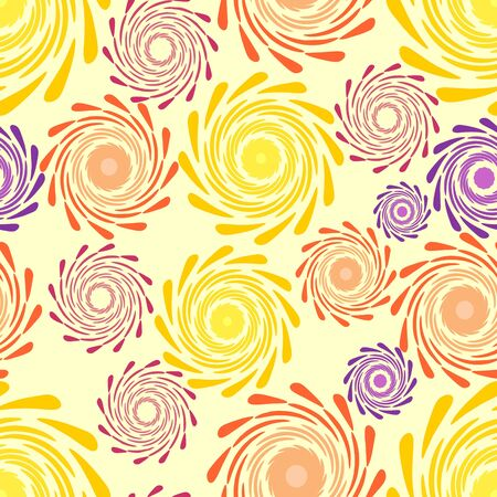 Abstract seamless background with swirl floral motif on the yellow area