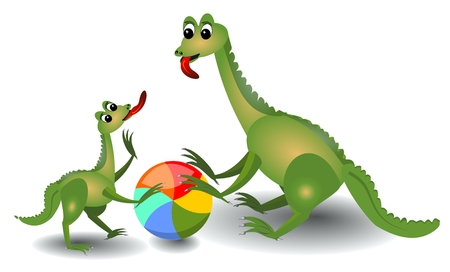paleontological: Cheerful lizard mum and her child playing with ball