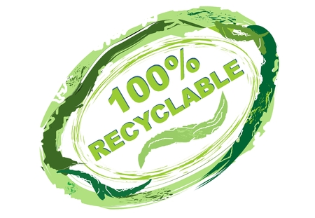 reciclable: Etiqueta del producto 100% reciclable en el estilo grunge