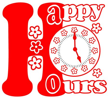 happy hours: Happy hours pictogram in red color with clock face and flowers on white background Illustration