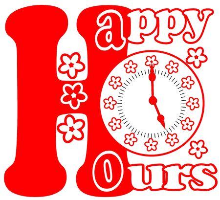 happy hours: Happy hours pictogramme de couleur rouge avec cadran de l'horloge et de fleurs sur fond blanc