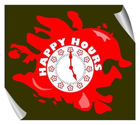 happy hours: Grunge heure heureuse pictogramme de couleur rouge avec cadran de l'horloge sur le fond noir