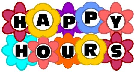 happy hours: Bonne inscription heures de la publicit� dans les fleurs multicolores Illustration
