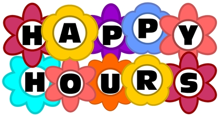 Happy hours advertising inscription in multicolored flowers Vector