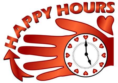 happy hours: Happy hours panneau d'affichage avec une horloge sur la paume de la composition avec un coeur Illustration