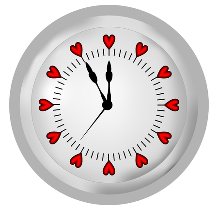 watch face: White clock with red hearts on the clock face