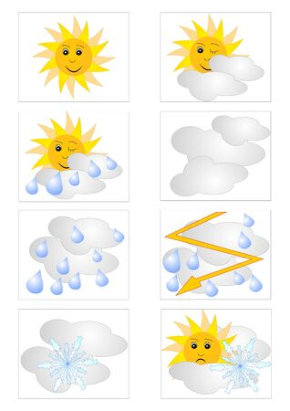 Set of icons for weather forecast with meteorologic symbols Vector