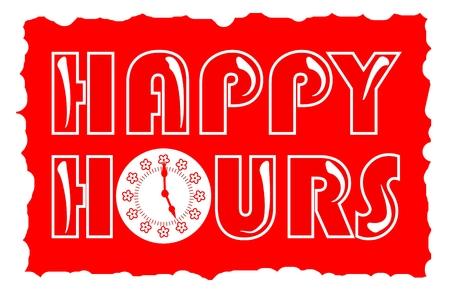 happy hours: Happy hours inscription en couleur rouge avec le visage de l'horloge dans le style grunge