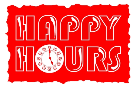 happy hours: Happy hours inscription in red color with clock face in grunge style
