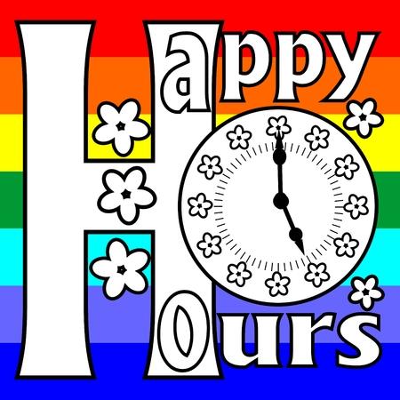 happy hours: Happy hours panneau d'affichage avec cadran de l'horloge et de fleurs sur un fond arc-en- Illustration