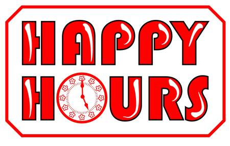 Happy hours inscription in red color with clock face on the white background Vector