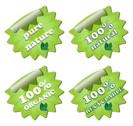 A set of ecology green star labels