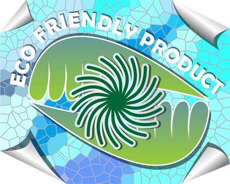 recyclable: Label for recyclable product with green and blue mosaic design with rolled paper corners