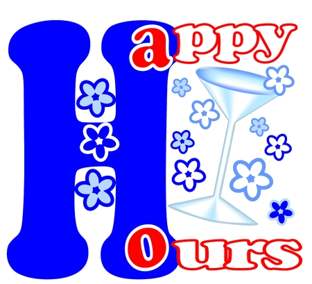 happy hours: Bonne �tiquette heures de publicit� avec des fleurs et verre de vin dans la conception bleu