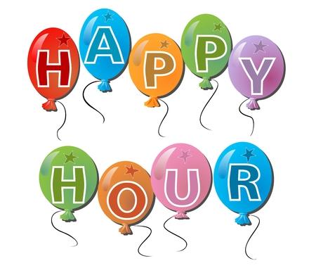 happy hours: Happy hours panneau d'affichage avec une inscription en boules multicolores