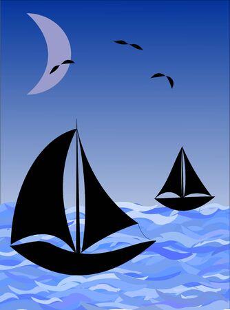 Fantasy image night sea with fishing boats and moon Vector