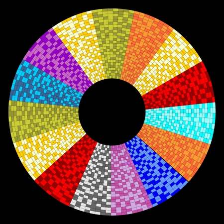 sector: Circle object designed as mosaic circular sector on black area for background using