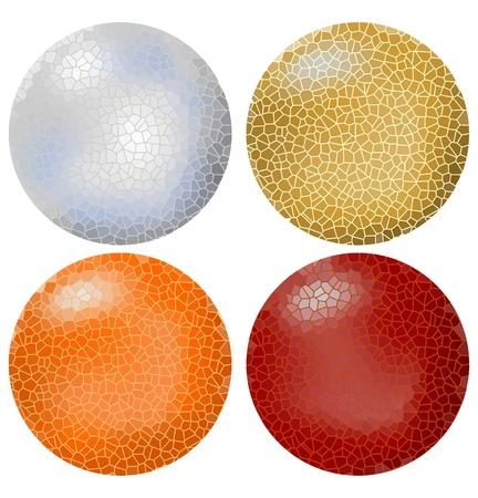 zeitlos: Set der Kugel-Objekte in Mosaikoberfl�che ausgelegt