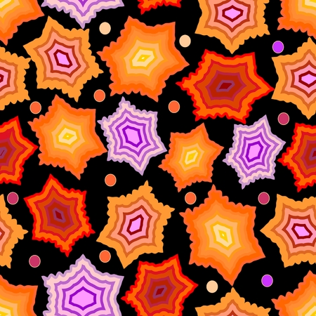 gritty: Seamless dark background with gritty orange and purple stars and dots  on black area