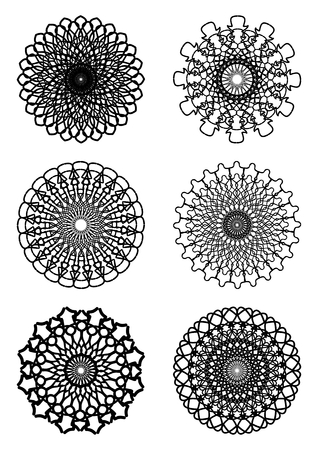A set of abstract symmetric geometric circle lace patterns in white and black Vector