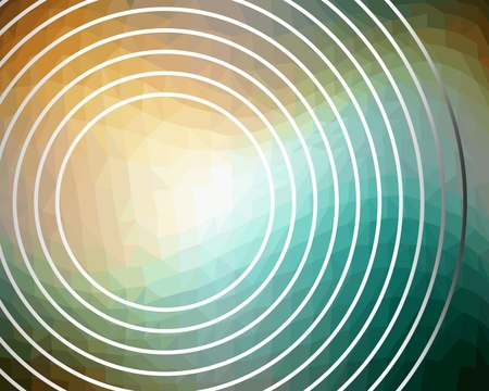 blue circles: Abstract background with concentric circles on triangle area in green and yellow Illustration