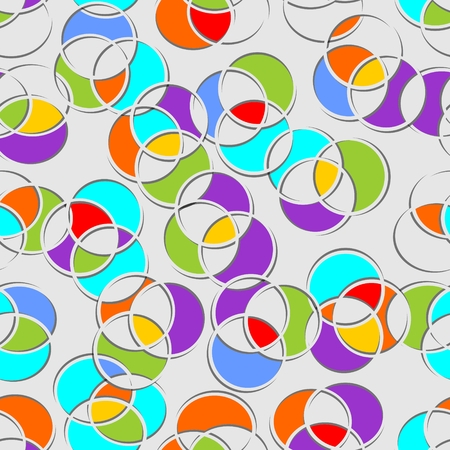 penetration: Seamless multicolored circle patterns on gray area