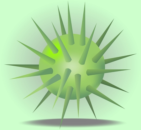 prickles: 3d green ball with prickles on light green background