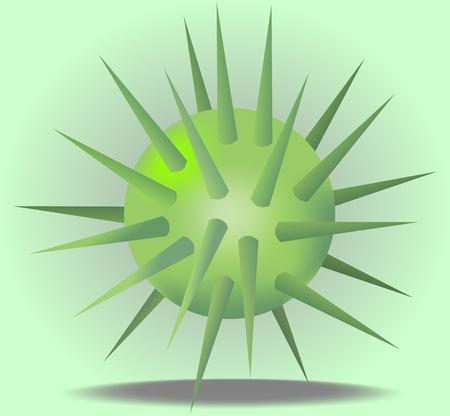 prickles: 3d palla verde con spine su sfondo verde chiaro