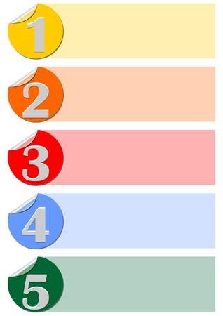 four in one: One, two, three, four, five steps infographic template designed with circle labels