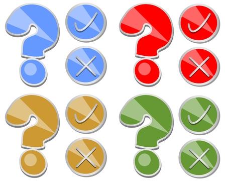 Question mark, oui, non, un ensemble de bouton de test en quatre variantes de couleurs