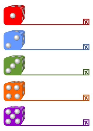 four in one: One, two, three, four, five steps infographic template designed with dices