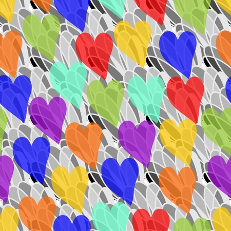 Seamless rainbow transparency hearts on the gray background Vector