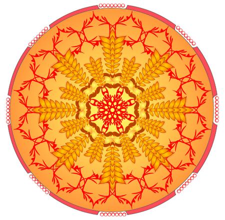 fortalecimiento: C�rculo mandala naranja para la obtenci�n de energ�a y potencia Vectores