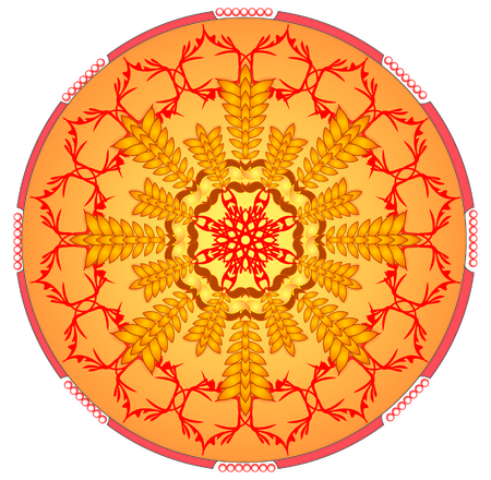 obtaining: Circle orange mandala for energy and power obtaining