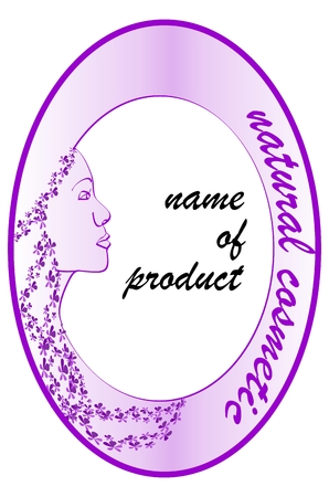 unrivalled: Purple label with a woman side face for natural cosmetic Illustration