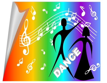 Disco billboard with man and woman silhouette on rainbow background with music symbols Illustration