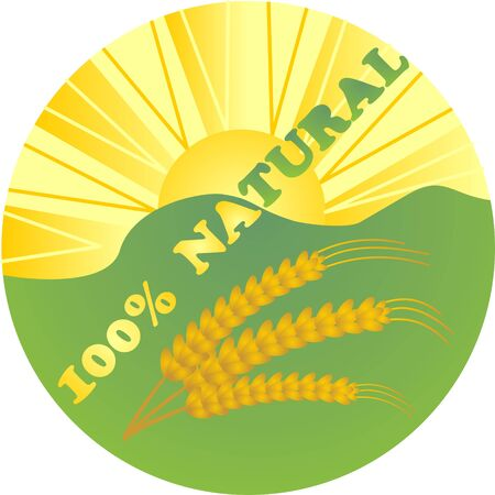 crop circle: Label for natural products with the landscape, the sun and the ears of corn