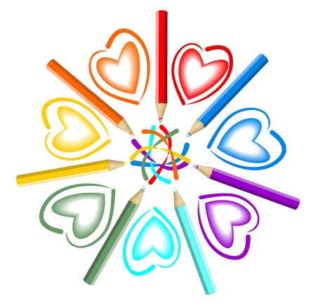 Star composed illustration with pastel pencils and heart drawing Vector