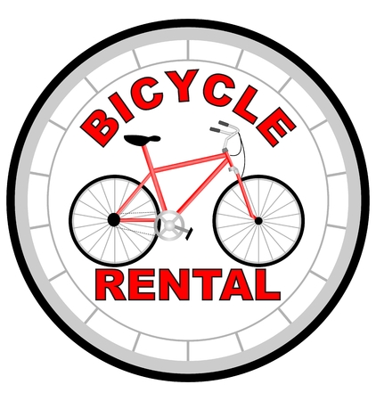 Label bicycle rental shaped as tyre with  red bicycle in the middle