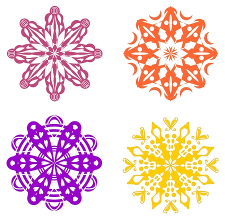 rosetta: Set of four geometric ornaments in warm colors - red, purple, yellow symmetric stars Illustration