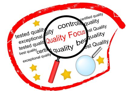 Quality Focus - the label for institutions engaged in quality control Vector