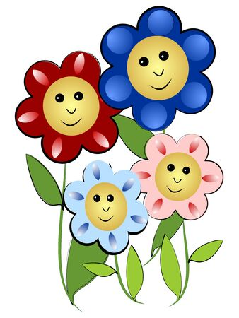 Cheerful flowers family - mother, father and two children