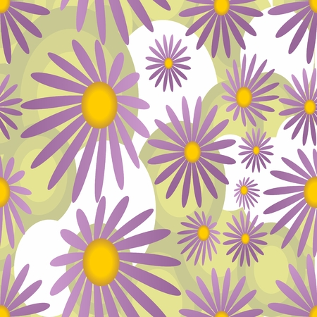 margriet: Naadloze achtergrond met violette margriet motief in zachte kleuren Stock Illustratie