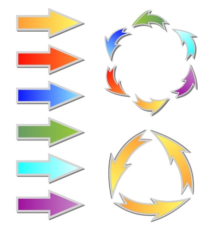 colorful slide: Set of colorful gradient arrows and circle cycle diagram for web design or presentation slide Illustration