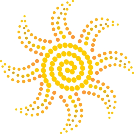 Simple sun motif composed of yellow and orange beads Vector