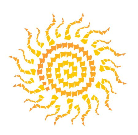 shards: Simple sun motif composed of yellow and orange mosaic shards