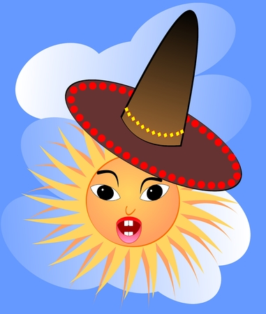 sway: Cheerful cartoon of surprised sun in Mexican hat in the style of children