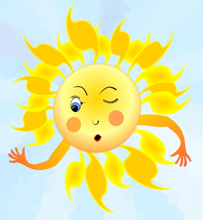 sway: Cheerful cartoon of surprised winking sun with hands in the style of children