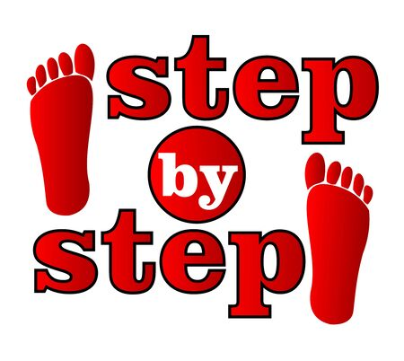 Step by step emblem for working process with human tracks in red design